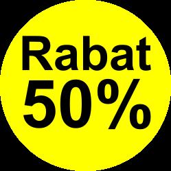 gul sort 50 % rabat etiket