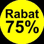 gul sort 75 % rabat etiket