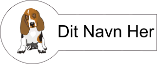 Navnemærke klistermærke med navn strygemærke med hund