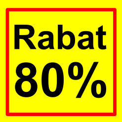 firkantet etiket rabat 80 %