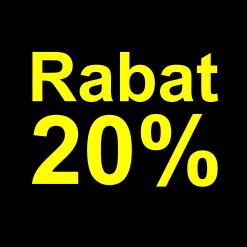 sort gul 20 %rabat etiket