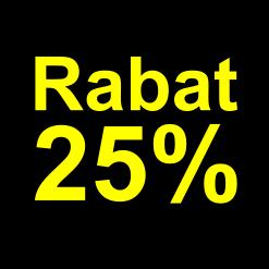 sort gul 25 %rabat etiket