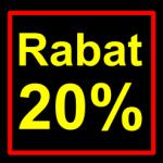 sort-gul rabat etiket klistermærke kvadratisk 20 %