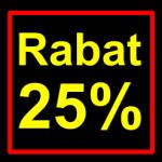 sort-gul rabat etiket klistermærke kvadratisk 25 %