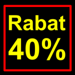 sort-gul rabat etiket klistermærke kvadratisk 40 %