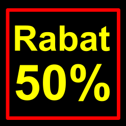sort-gul rabat etiket klistermærke kvadratisk 50 %