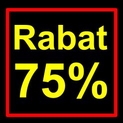 sort-gul rabat etiket klistermærke kvadratisk 75 %