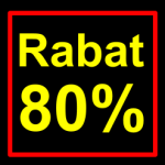 sort-gul rabat etiket klistermærke kvadratisk 80 %