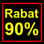 sort-gul rabat etiket klistermærke kvadratisk 90 %