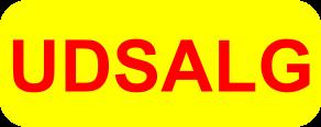 udsalgsklistermærke gul med rød skrift med runde hjørner