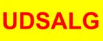 udsalgsklistermærke gul med rød skrift